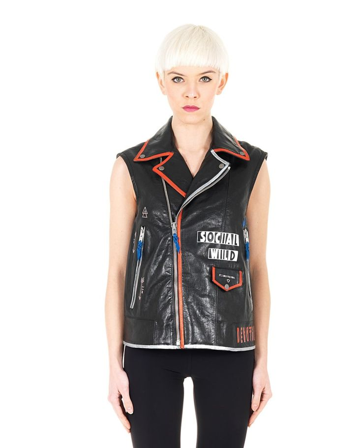 HTC SLEEVELESS LEATHER STUDDED JACKET Black leather studded jacket sleeveless front and back print two pockets with zipper  cross zipper closure  100% Leather Lining: 100% VI