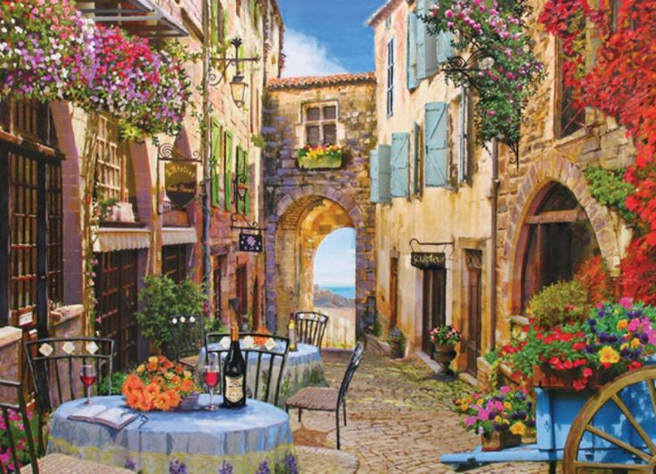 French Village Cafe Scene Cobble Hill 1000 Piece Jigsaw