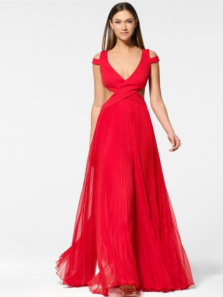 Details about CACHE NWT Sexy Red Pleated Skirt Open Back Formal ...