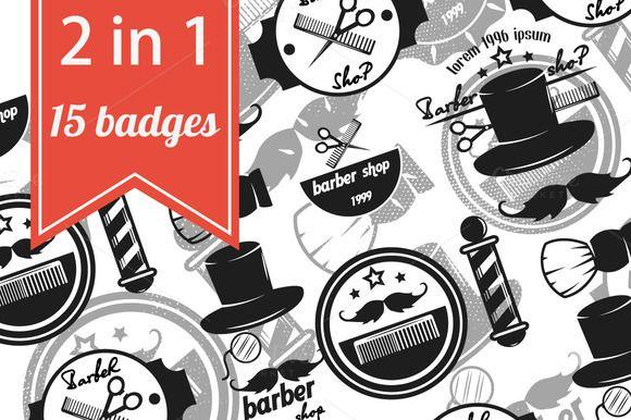 Barber shop logos retro vector by MurMur on Creative Market