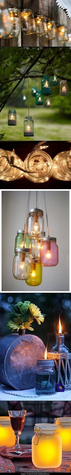 Hang jars with candles
