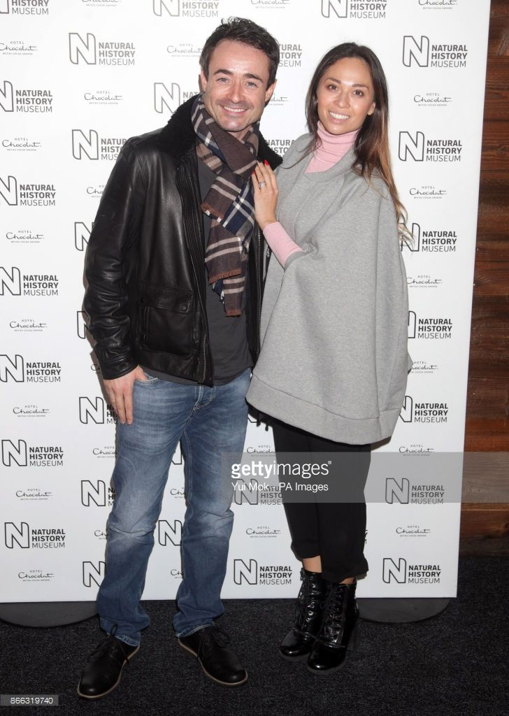 Joe McFadden and Katya Jones attending the launch of the Natural History Museum's ice rink in London.