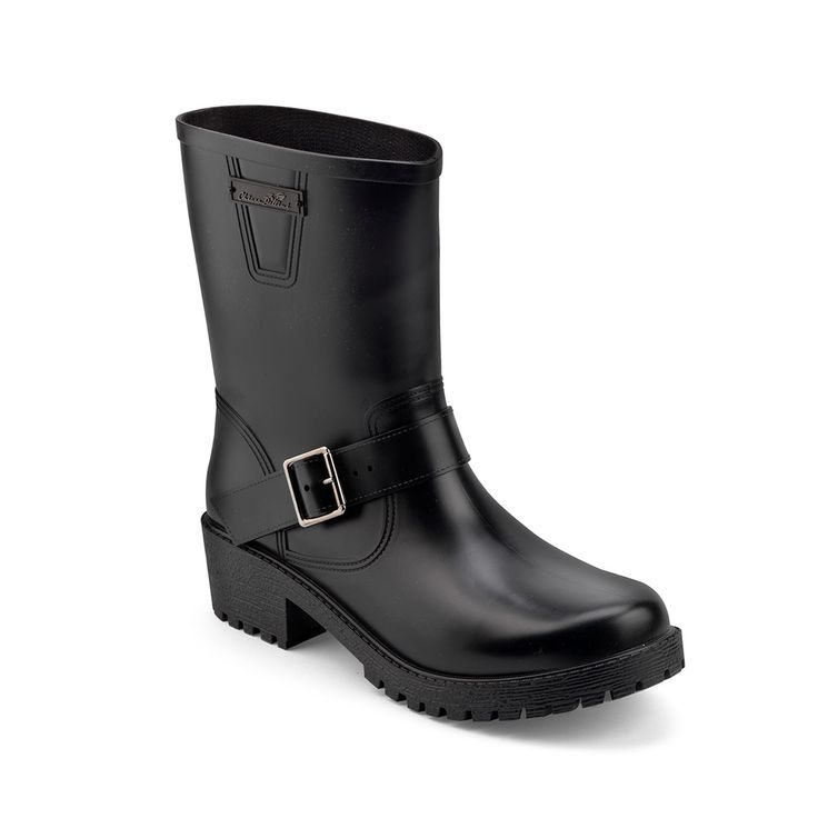 Biker boot in mat pvc with an ankle strap and a rubber label