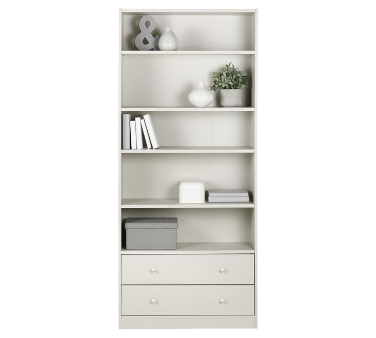 buy home maine 4 shelves 2 drawer extra deep bookcase grey at argosco