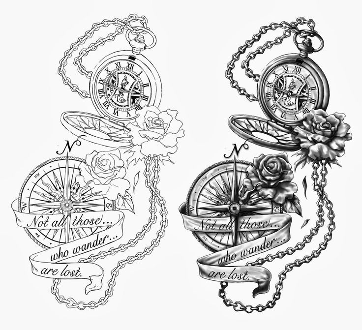 pocket watch and flower tattoos | with a different saying and no compass but an additional pocket watch