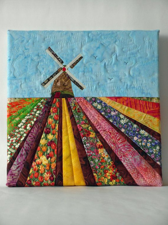 Dutch windmill with tulip fields by QuiltshopAndrea on Etsy