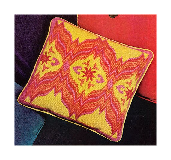 A SCANNED & REFORMATTED COPY OF A VINTAGE 1970s NEEDLEPOINT CHART PATTERN to make A FOOT STOOL COVER & CUSHION COVER Four designs to choose from a poppy, anemone, shell or fireworks!! Victorian charm in a bargello design with picture centre Requires Persian 3 ply yarn and