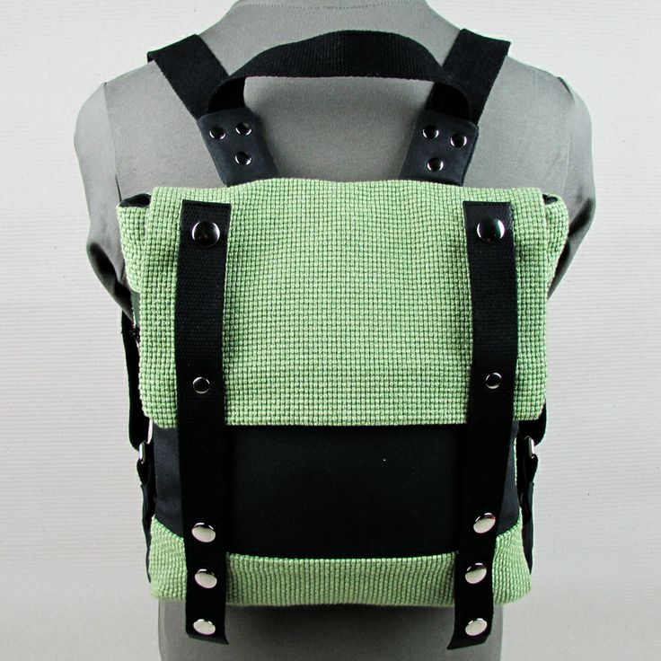 "#insettoamaro ""Sportina"" city #backpack Chartreuse nattè and GraphiteGray canvas"