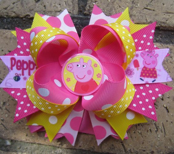 Peppa Pig Inspired Custom Boutique Hair Bow by AddisonsBowtique