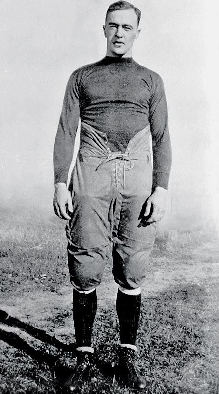 George Gipp Football (1917-1920)  A true dual-threat quarterback, this legendary football player was coach Knute Rockne's go-to man despite never playing football in high school. Gipp led the Irish in rushing and passing each of his last three seasons (1918, 1919 and 1920) and his career mark of 2,341 rushing yards remained the record until broken by Jerome Heavens in 1978