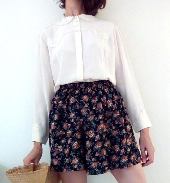 Cotton viscose shorts floral shorts plus size culottes high