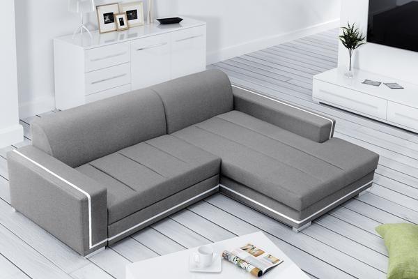 Modern Fabric Corner Sofa Bed ''MARTIN'' With Storage Box