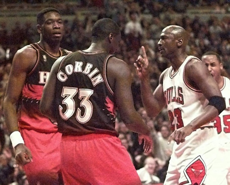 Michael #Jordan gives Dikembe a taste of his own medicine after a dunk. #FingerWag