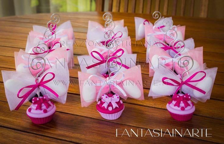 Bomboniera Portafoto Portamemo CupCake Rosa e Fucsia Topolina Completa di Confez