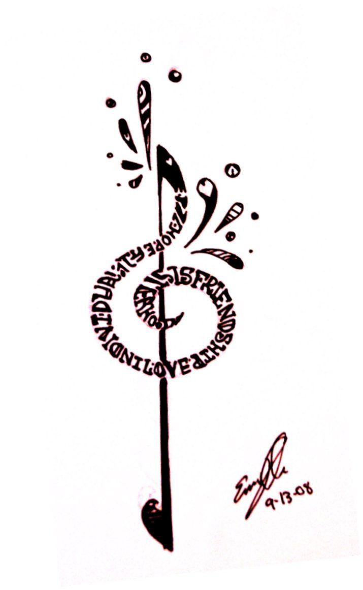 Heart tattoos designs - Treble And Bass Clef Heart Tattoo Design Treble Clef He