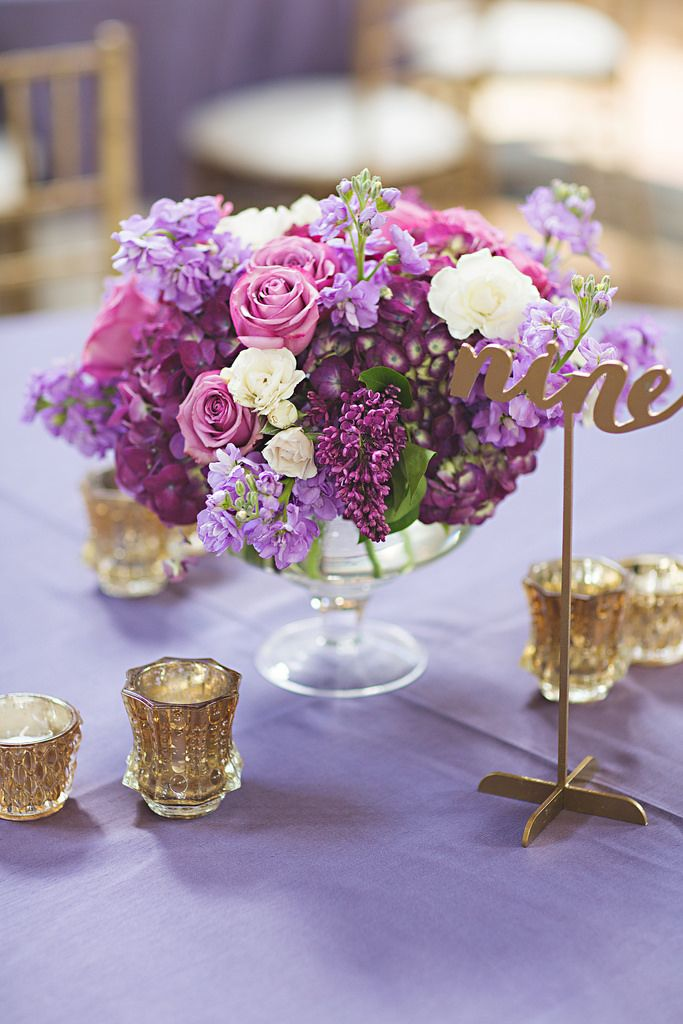 Low Floral Centerpiece. Purple and Gold Wedding at Union Station, Kansas City, MO. Photo by EpagaFoto. Design by Blue Bouquet, Kansas City. www.bluebouquet.com