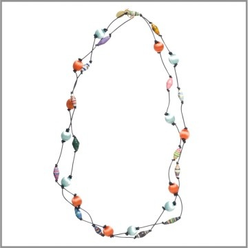 Amanda Pearl Bead4life & Silk Thread Bead on leather necklace: Leather Necklace