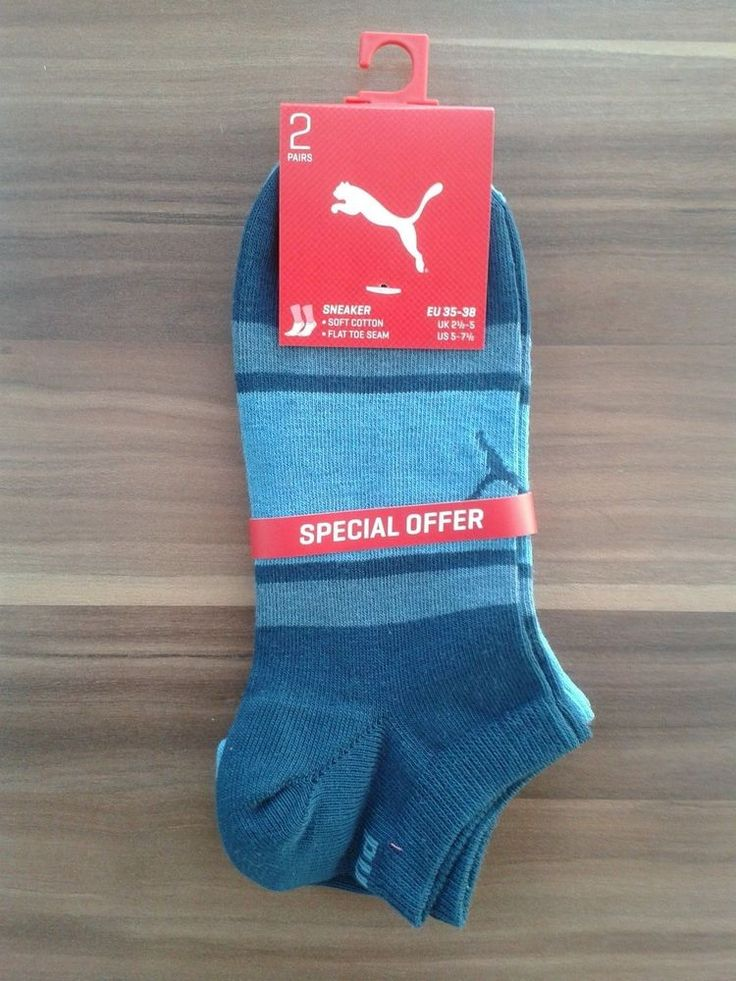 Puma Unisex 4 Pairs Striped Cotton Brand Fashion Size US 5-7.5 UK 2.5-5 EU 35-38  | eBay