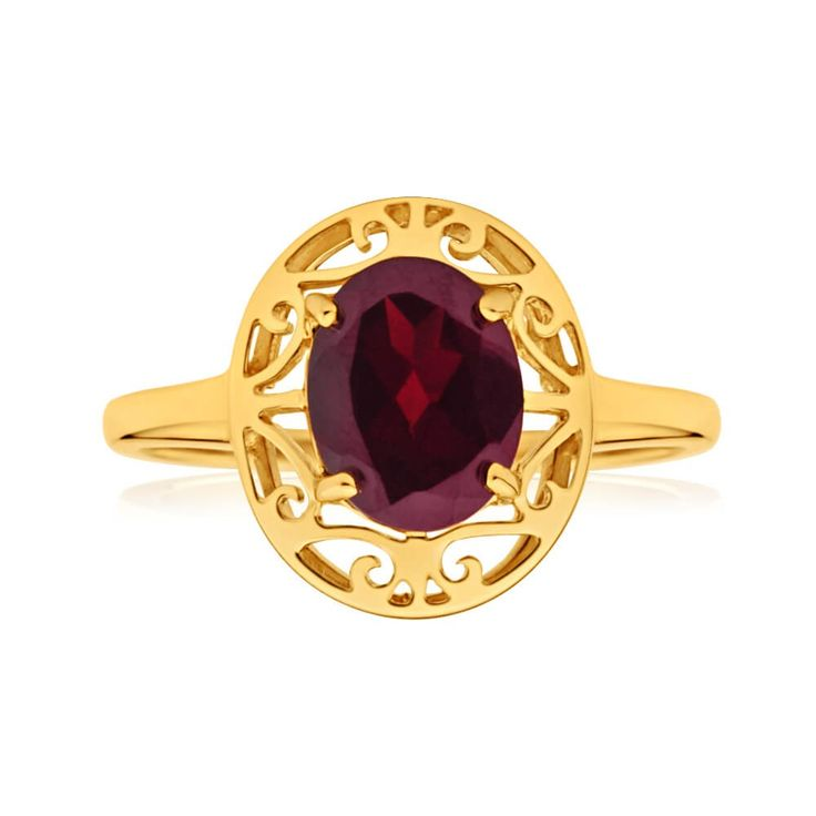 Perfect right hand style ring with Garnet centre stone with pretty art deco filigree detail in 9ct Yellow Gold