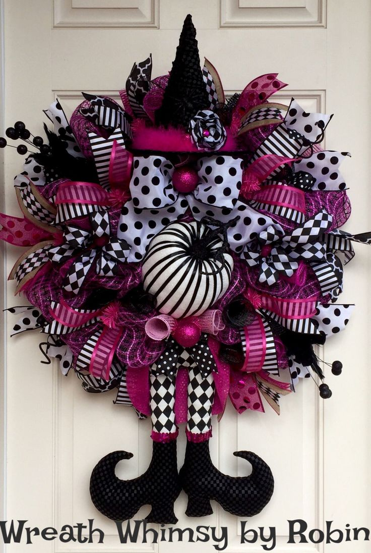 Halloween Pink & Black Deco Mesh Witch Wreath, Fall Wreath, XL Witch Wreath, Witch Legs Hat, Halloween Decor, Harlequin Witch by…