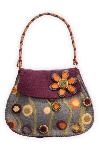 Rising Tide Felted Wool Flower Garden Bag  Price : $50.90 http://www.fairindigo.com/Rising-Tide-Felted-Flower-Garden/dp/B00E7HB9VQ #FairTrade