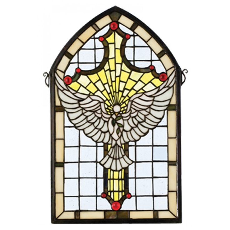 Meyda Tiffany Gothic Religious Holiday Dove Cross Stained Glass Window