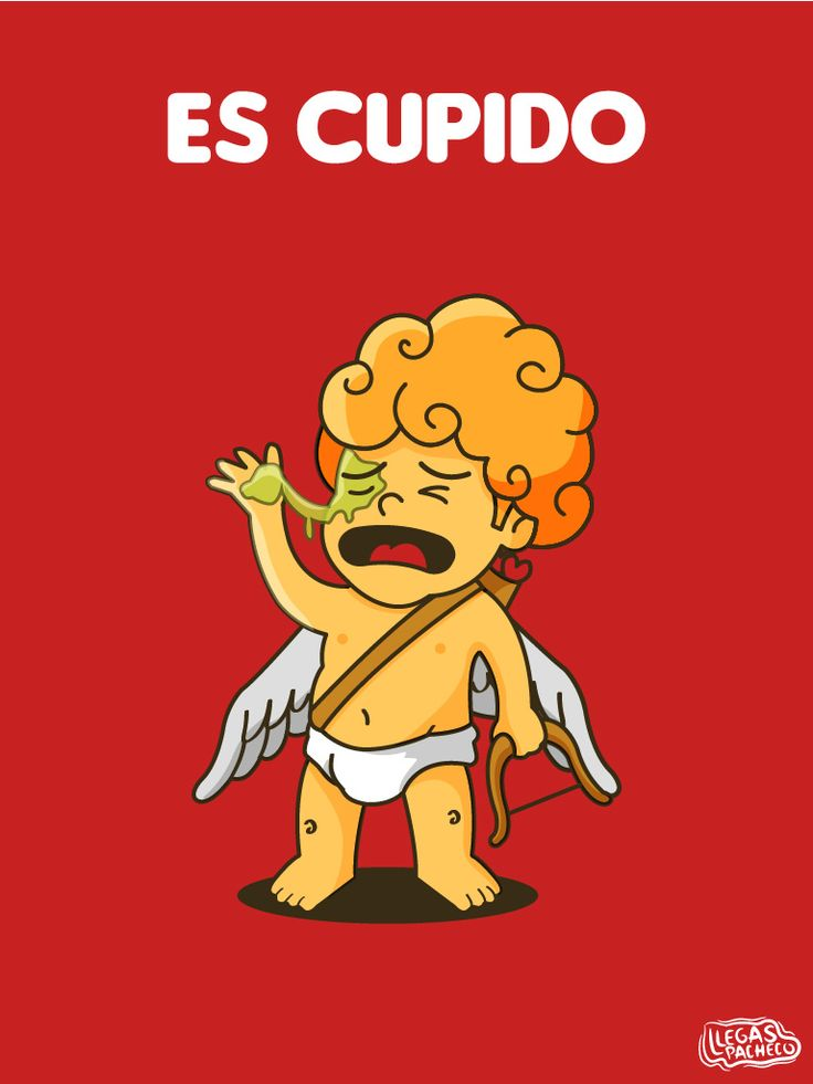Spanish jokes for kids, chistes. Spanish words: es cupido vs. escupido. #Spanish learning