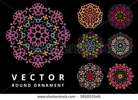 Vector Ornament Set With Caucasian Motifs On Black Background
