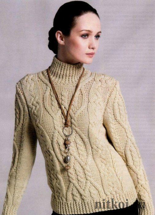 Водолазка – свитер спицами с аранами Свитер спицами с аранами и витор резинкой из шерстяной пряжи горчичного цвета. Размер: 38-40/42-44/46-48.