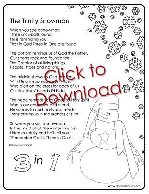Trinity Snowman... cute poem to help teach how God is three in one