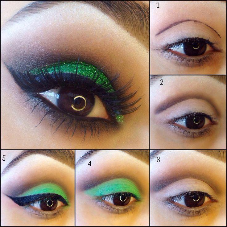 maquillaje para ojos de color verde con negro