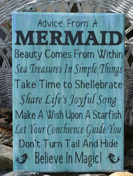 Beach, Sign, Advice From A Mermaid Wood Sign, Mermaids Decor, Love, Rustic Wood Beach Decor, Christmas Gift, Teen Girls, Girl Room, Inspirational, Beachy Theme, Beach Bathroom, Beach Wooden Signs, Beach Decor, Girls Gift Idea, Mermaid Poem Quote, Mermaid Decor, Beach Bathroom, Nautical Home Décor, Coastal Hand Painted Wooden Plaque #advice #mermaid #froma