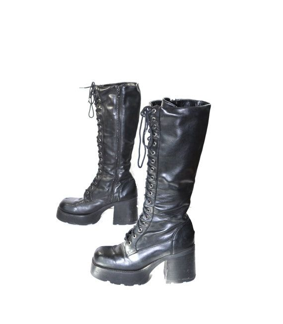 Chunky Black Boots 90s