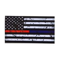 Wish | Respect Thin Blue & Red Line FireFighter Police Flag Vinyl Decal Sticker (Color: Multicolor)