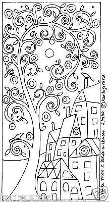 RUG-HOOK-CRAFT-PAPER-PATTERN-Swirl-Tree-2-Birds-and-Houses-FOLK-ART-Karla-Gerard