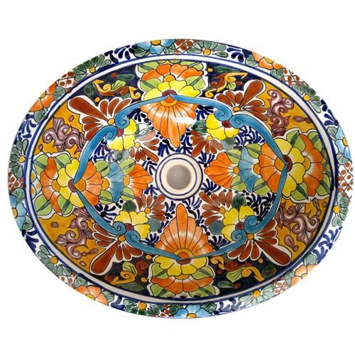 This beautiful ceramic sink hand-painted by Mexican craftsmen, will add a unique and splendid touch to your bathroom or powder room. Look for matching or comple