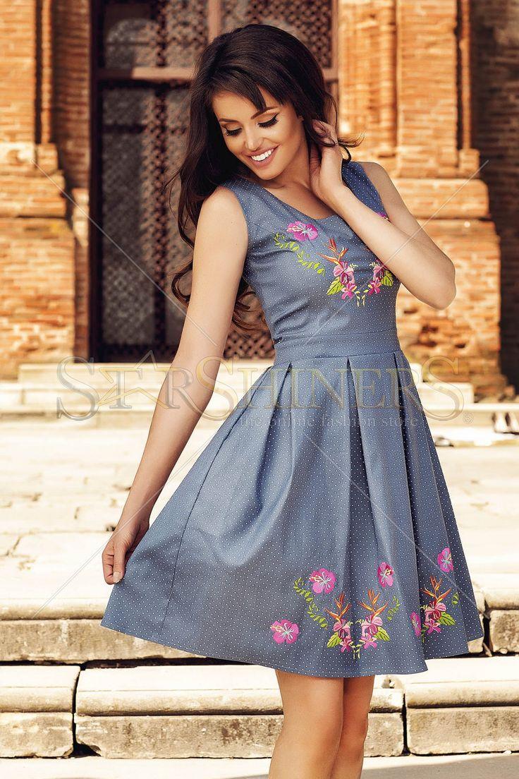 StarShinerS Brodata Ocean Blue Dress