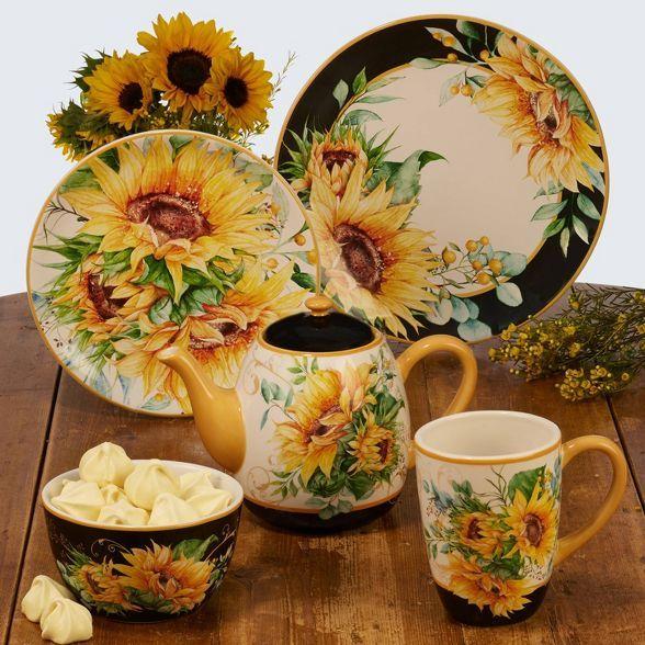 40oz Earthenware Sunflower Fields Teapot Certified International Sunflower Themed Kitchen Sunflower Kitchen Decor Black Wall Clock