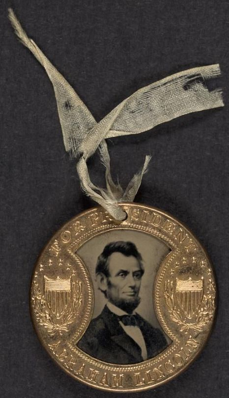 "1864 Abraham Lincoln Presidential Campaign Button....Abraham Lincoln's 1864 Campaign Slogan: ""Don't Swap Horses in the Middle of the Stream"""