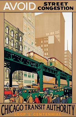 CTA Chicago Transit Authority 1926 by Johnson vintage railroad travel poster