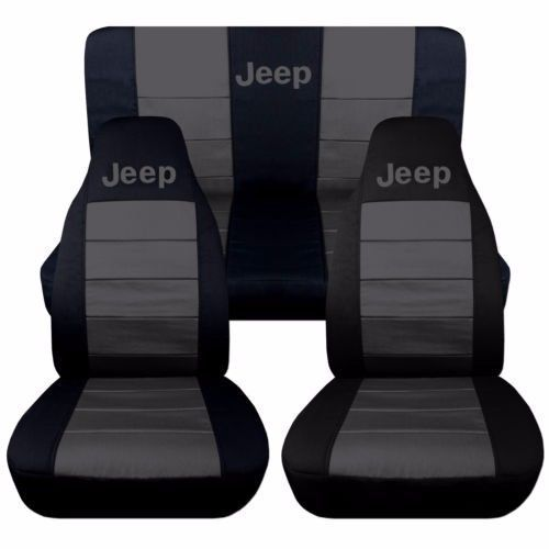 Black and Charcoal Jeep Liberty Seat Covers 05-07. Front and Rear Seats.  #Designcovers