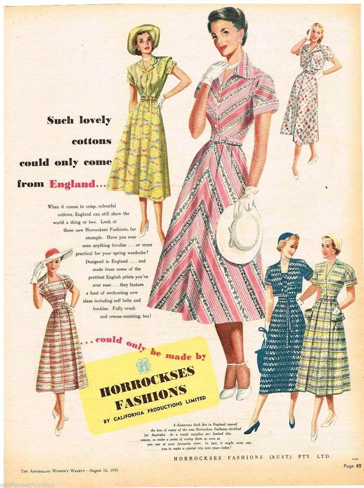 HORROCKSES AD MID CENTURY FASHION Vintage Advertising 1950 Original Advert | eBay