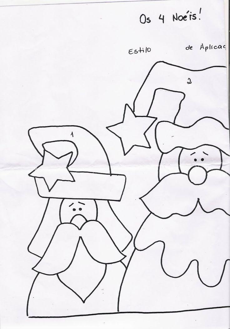 Moldes Para Artesanato em Tecido: Patchcolagem de Papai noel com molde