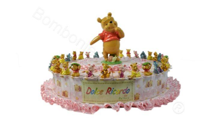 Torta bomboniera WINNIE the POOH decorata Rosa con 5 confetti a scelta inclusi nel prezzo #torta #bomboniera #disney #winniethepooh #battesimo