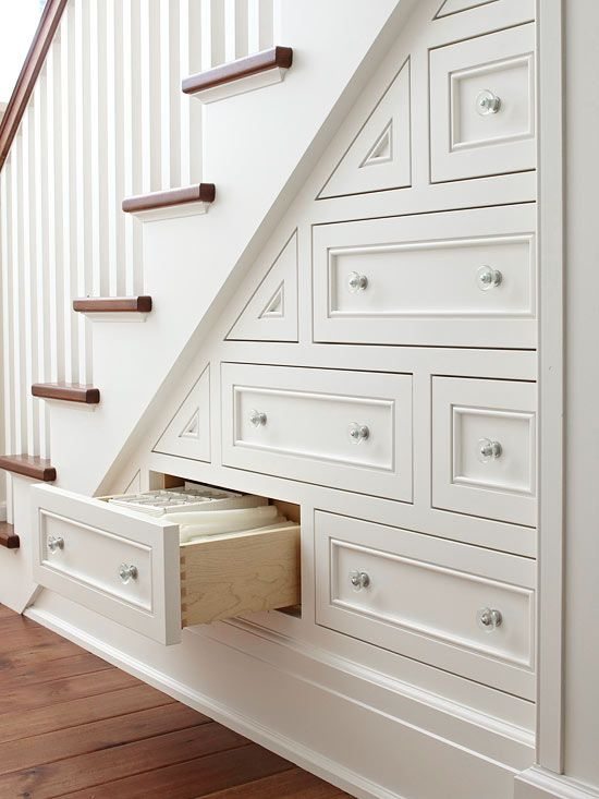 Utilize square footage with an organizational system beneath the stairs.: Spaces,  Balustrade, Stairs Drawers, Stairs Storage, Understairs, Under Stairs, Great Ideas, Storage Ideas,  Balusters