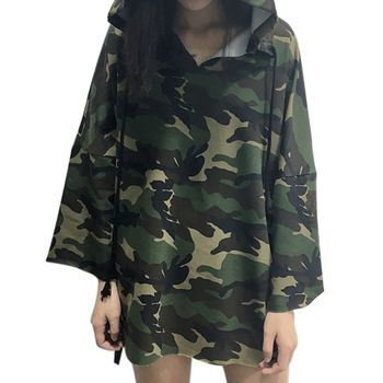 Autumn Hoody 2016 Camouflage Hoodies Tracksuits for Women Loose Casual Sweatshirt Hip Hop Letter Printed Hooded Camouflage Tops