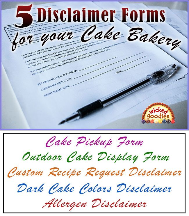 Disclaimer Forms for a Cake Bakery Free Downloadable Templates