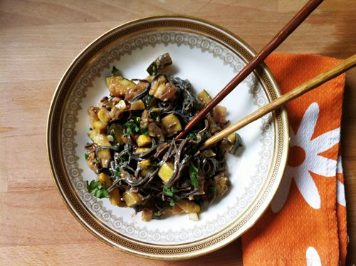 Black Bean Noodle Pad Thai with Yellow Squash and Zucchini - YumUniverse™