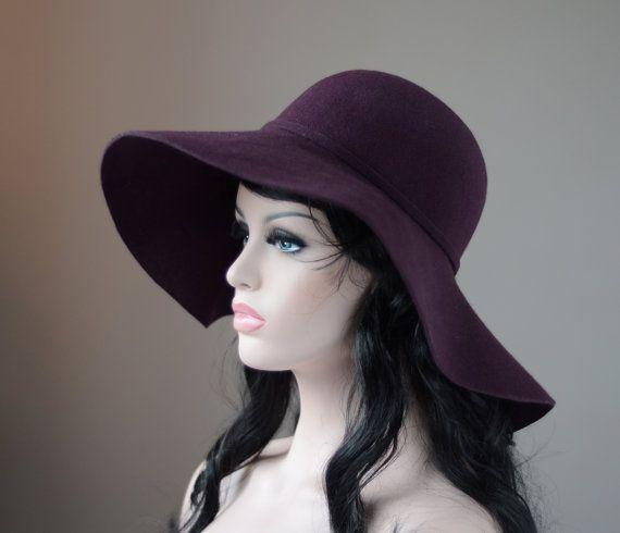 Plum Floppy Fedora Hat - Large Brim - Boho Style - Wool Felt - with Minimalistic Same Colour Trim - Women Accessories - Winter Fashion