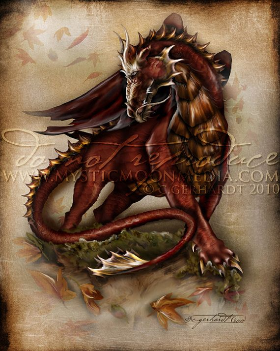Season of the Drakon Dragon 5x7 Matted Print by mysticmoonmedia, $15.00